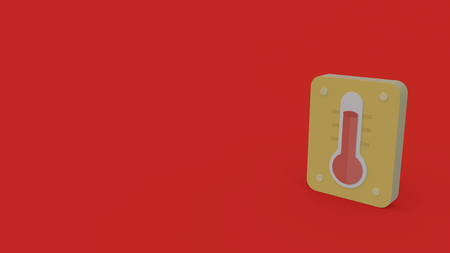 3d icon of thermometer isolated on red background 版權商用圖片