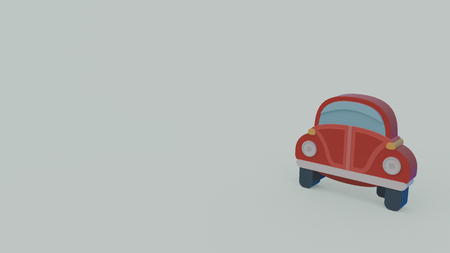 3d icon of old red car isolated on gray background Reklamní fotografie
