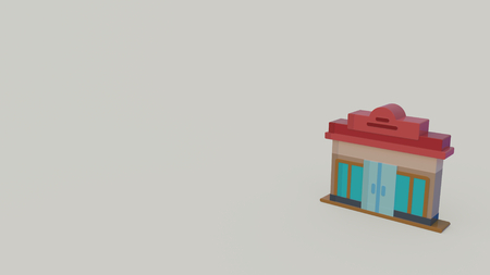 3d icon of shop with red roof isolated on gray background