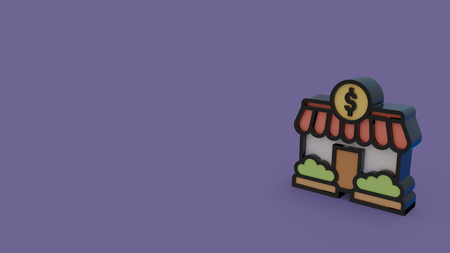 3d icon of market store isolated on violet background