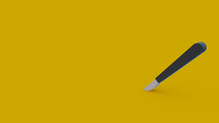 3d icon of scalpel isolated on yellow background