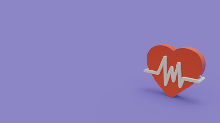 3d icon of red heart with cardiogram wave isolated on blue background Stok Fotoğraf