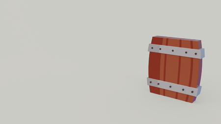 3d icon of brown beer barrel isolated on light gray background