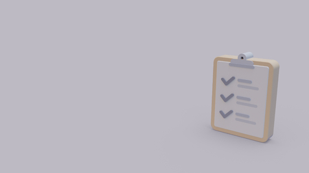3d icon of paper with list with check boxes isolated on gray background