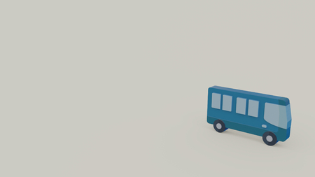 3d icon of blue bus isolated on gray background