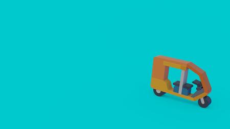 3d icon of orange rickshaw isolated on turquoise background