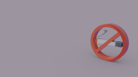 3d icon of no smoking symbol isolated on gray background