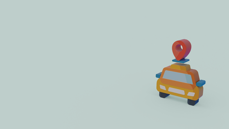 3d icon of taxi car with placeholder isolated on light blue background