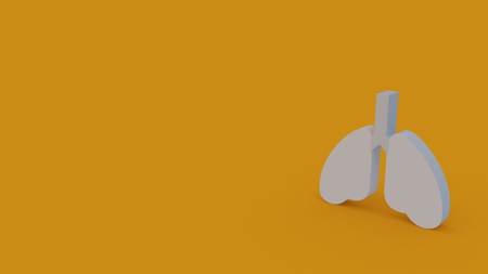 3d icon of white lungs isolated on orange background