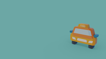 3d icon of yellow taxi car isolated on blue background Фото со стока