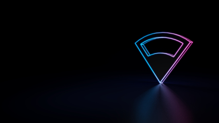 3d icon of blue violet neon connection symbol isolated on black background Фото со стока