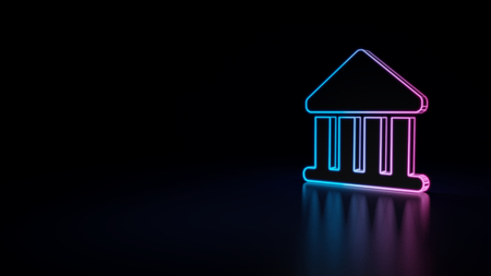 3d icon of blue violet neon bank building isolated on black background