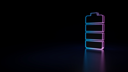 3d icon of blue violet neon battery isolated on black background Stock Photo