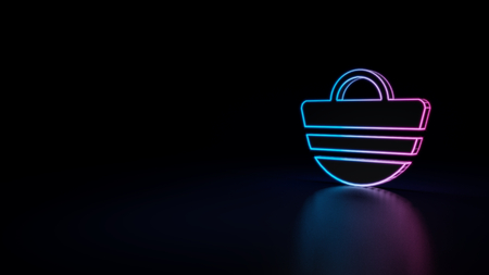 3d icon of blue violet neon beach bag isolated on black background