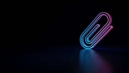 3d icon of blue violet neon paper clip isolated on black background