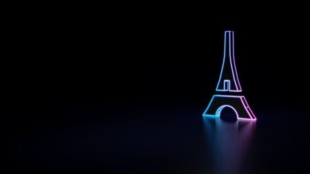 3d icon of blue violet neon eiffel tower isolated on black background
