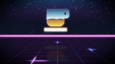 chrome icon of coffee cup on synth background