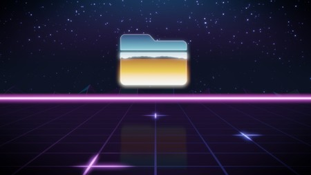 chrome icon of folder on synth background