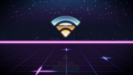 chrome icon of wifi signal on synth background 写真素材