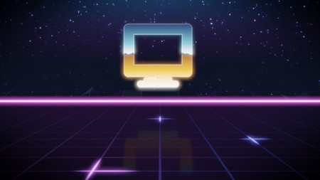 chrome icon of computer on synth background
