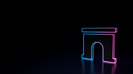 3d icon of blue violet neon archway isolated on black background 写真素材 - 122169328