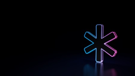 3d icon of blue violet star isolated on black background
