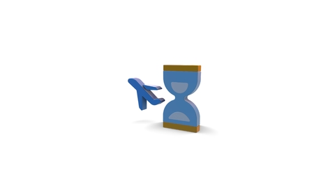 3d icon of hourglass and plane isolated on white background Banque d'images - 122168516