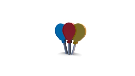 3d icon of blue red and yellow balloons isolated on white background