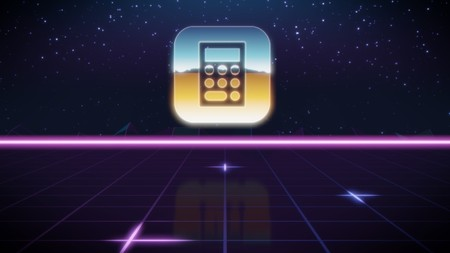 chrome icon of apple app calculator on synth background