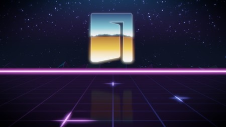 chrome icon of door on synth background
