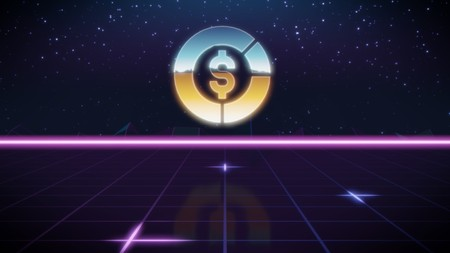 chrome icon of pie chart with dollar symbol on synth background