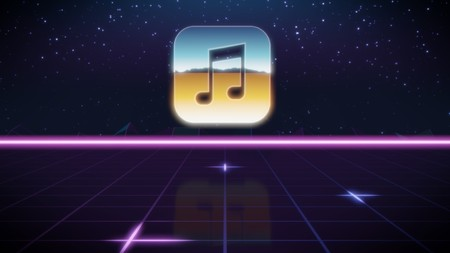 chrome icon of music note on synth background