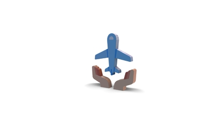 3d icon of plane in hands isolated on white background Banque d'images - 118993462