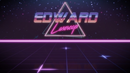 chrome first name Edward with lasercop subtitle in synthwave retro style with triangle in blue violet and black colors