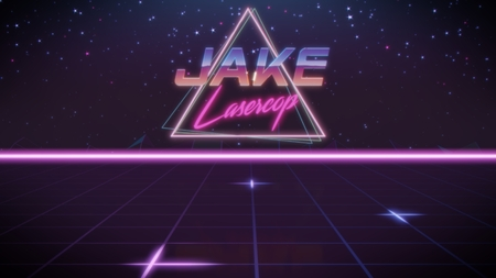 chrome first name Jake with lasercop subtitle in synthwave retro style with triangle in blue violet and black colors Stock Photo