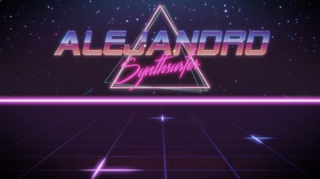 chrome first name Alejandro with synthsurfer subtitle in synthwave retro style with triangle in blue violet and black colors