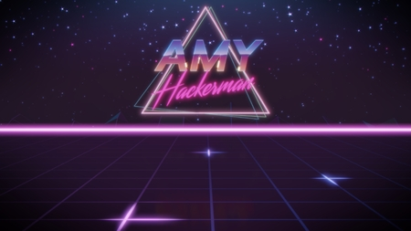 chrome first name Amy with hackerman subtitle in synthwave retro style with triangle in blue violet and black colors