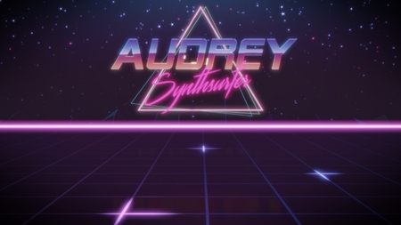 chrome first name Audrey with synthsurfer subtitle in synthwave retro style with triangle in blue violet and black colors