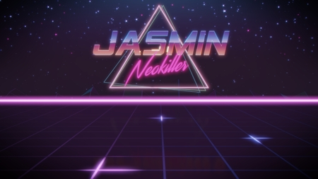 chrome first name Jasmin with neokiller subtitle in synthwave retro style with triangle in blue violet and black colors Foto de archivo
