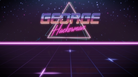 chrome first name George with hackerman subtitle in synthwave retro style with triangle in blue violet and black colors