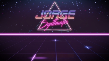 chrome first name Jorge with synthsurfer subtitle in synthwave retro style with triangle in blue violet and black colors