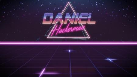 Chrome nombre Daniel con subtítulo de hackerman en estilo retro synthwave con triángulo en colores azul violeta y negro