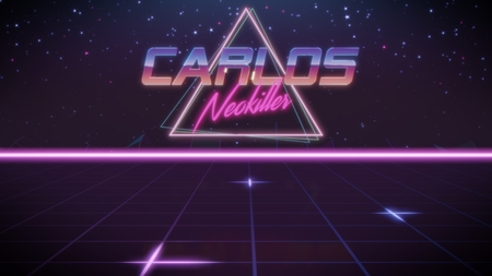 chrome first name Carlos with neokiller subtitle in synthwave retro style with triangle in blue violet and black colors Stock fotó