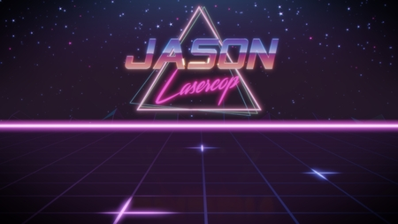 chrome first name Jason with lasercop subtitle in synthwave retro style with triangle in blue violet and black colors
