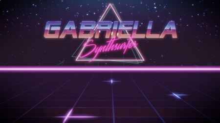 chrome first name Gabriella with synthsurfer subtitle in synthwave retro style with triangle in blue violet and black colors Stock fotó