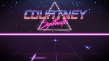chrome first name Courtney with synthsurfer subtitle in synthwave retro style with triangle in blue violet and black colors