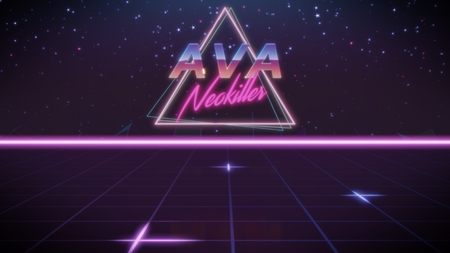 chrome first name Ava with neokiller subtitle in synthwave retro style with triangle in blue violet and black colors
