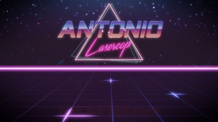 chrome first name Antonio with lasercop subtitle in synthwave retro style with triangle in blue violet and black colors
