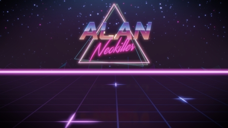 chrome first name Alan with neokiller subtitle in synthwave retro style with triangle in blue violet and black colors