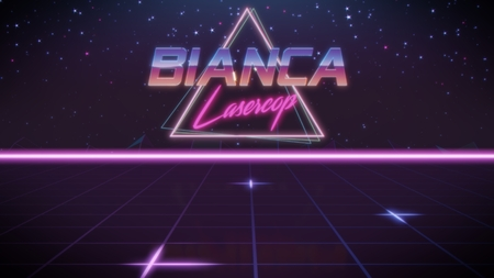 chrome first name Bianca with lasercop subtitle in synthwave retro style with triangle in blue violet and black colors